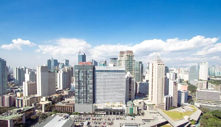 A bright skyline view of the Makati Central Business District
