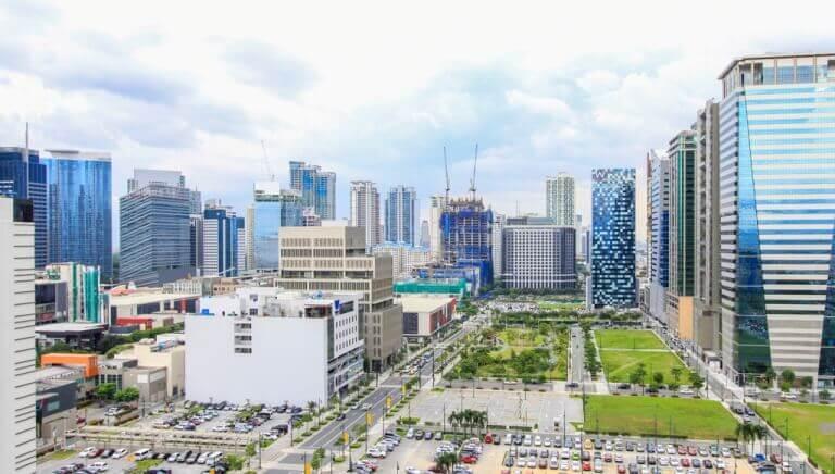 A skyline view of Bonifacio Global City that boasts newly built high-end towers.
